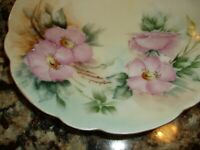 Antique Vintage Thomas Sevres Bavaria Floral Plate With Gold Edge Pink Flower