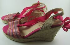 TALBOTS 6 M hot pink wedge shoes ribbon ankle ties striped ESPADRILLE nice!