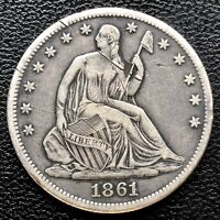 1861 S Seated Liberty Half Dollar 50c High Grade XF Det. #18270