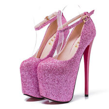 Men's Pumps Drag Queen Glittering Crossdresser Heels Ankle Strap Shoes Plus Size