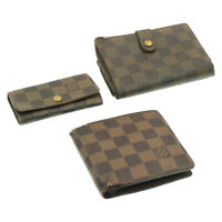 LOUIS VUITTON Damier Ebene Wallet Key Case 3Set LV Auth sg156