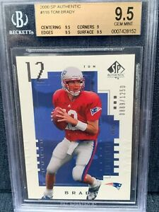 2000 SP Authentic Tom Brady ROOKIE RC Serial #889/1250 BGS 9.5 GEM MINT