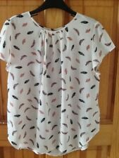 H&M feather print top size UK10/12, cream, new condition