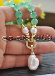 "Z10123 19"" Round Green Jade White Keshi Pearl Necklace Pendant CZ"
