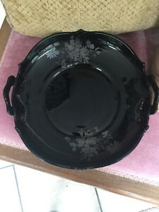 L E Smith Mt Pleasant Black Glass Handled Bowl-Silver Floral Design