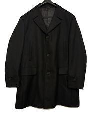 DRESSMANN Mens Black Quality Overcoat Wool Twill Coat Smart Work XL 50in P2P