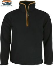 Mens Outdoor Country Black Thermal Fleece Top Pullover Jumper Half Zip Neck