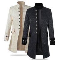 Men Stand Collar Jacket Gothic Coat Steampunk Black White Outwear Top Parka Slim