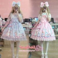 Japanese Kawaii Vintage Lace Fairytale Lolita Chiffon Princess Dress Sweet Girls