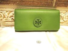 "NWT AUTH Tory Burch ""MARION ENVELOPE CONTINENTAL"" LEAF GREEN LEATHER WALLET $195"