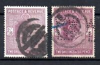 GB KEVII 1902-10 2s 6d x 2 shades used WS18589