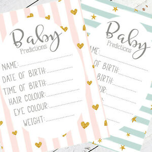 Baby Shower Games Prediction Cards Baby Boy Girl Pink Blue Mum Keepsake Favours