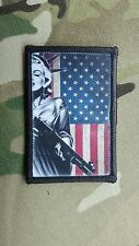 Marilyn Monroe Lady Liberty with Shotgun US Flag Morale Patch III% Molon Labe