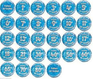 """18"""" Blue FOIL BALLOON """"HAPPY AGED BIRTHDAY"""" CELEBRATION CHOOSE AGES FROM 1 TO 21"""