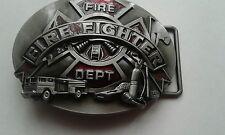Fire Fighter Belt Buckle, in satin Nickle & Maroon Enamel.