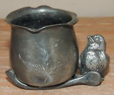 VINTAGE WARREN SILVER PLATE CO NY Quadruple TOOTHPICK HOLDER CUP WISHBONE BIRD
