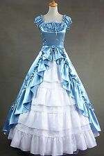Short Sleeves Satin Lolita Dress Cosplay Costume Outfit Halloween Custom Made