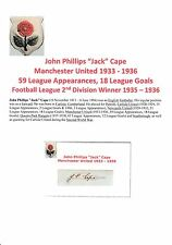 JACK CAPE MANCHESTER UNITED 1933-1936 RARE ORIGINAL HAND SIGNED CUTTING/CARD