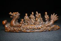 Collect feng shui decor Boxwood carve eight immortals on Dragon Ship Boat statue