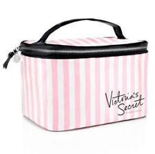 Victoria Secret Pink & White Stripe Logo Makeup Cosmetic Essential Bag New