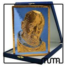 Icona vetro Murano formella figura Santo Padre Pio da Pietralcina con custodia