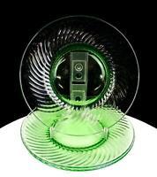 "DEPRESSION GREEN VASELINE GLASS SWIRL PATTERN 3 PIECE 8 1/4"" SALAD PLATES 1930'S"