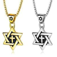 Edelstahl Magen David Stern Kreuz Anhänger Mode Herren Halskette Kette neu G8O6