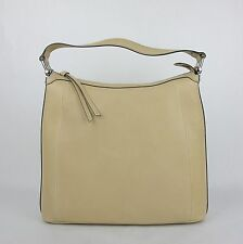 New Gucci Beige Soft Leather Zip Top Handbag with Bamboo Detail 355774 9909