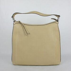 New Gucci Beige Soft Leather Zip Top Handbag with Bamboo Detail 355774 9909 D2
