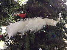 "Long 20"" White Feathered Phoenix Bird Clip On Ornament Kurt Adler"