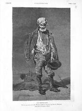 Portrait d'un mendiant par Tusquets peintre musée du Prado à Madrid GRAVURE 1879