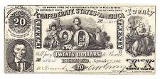 Ct-20 1861 Confederate States of America $20 Note No.45658