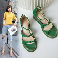 Womens Ladies Fashion Suede Leather Buckle Straps Wedge Heel Sandals Shoes SKGB