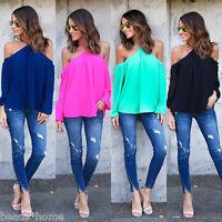 Womens Summer Off Shoulder Long Sleeve Shirt Casual Blouse Loose Tops T-Shirt UK