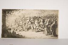 Gravure XIX° S. Scène Bachique Banquet Vin Musique Angelots Satyre