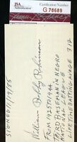 Bobby Robinson Negro Lea Signed Jsa Certified 3x5 Index Card Authentic Autograph