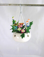 Dollhouse Miniature Pastel Flowers in White China Hanging Pot, A087