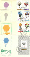 4 LETTRES TIMBRES POLOGNE THEME BALLONS ET MONGOLFIERES