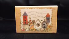 Joy Marie Inkadinkado Rubber Stamp 9057 Wood Mounted Garden Scene Heaven Quote