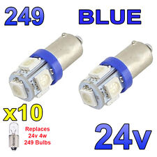 10 x 24 V bleu ampoules à DEL BA9s 249 Side Light Wedge poids lourds Man Volvo