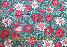 Cranston Christmas cotton fabric roses poinsettia flower pinecones BTHY half yd