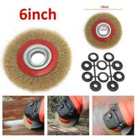 Wire Brush Wheel 6″ 150mm For Bench Grinder Polish + 10pc Reducers Adaptor Rings