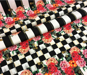 MacKenzie-Childs INSPIRED Roses Check Fabric - By the Yard/1/2 Yard - NEW
