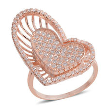 WHITE CLEAR SIMULATED DIAMOND PAVE 3 DIMENSIONAL ROSE TONE HEART 3D RING SIZE 8