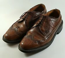 Vintage Mens (Sz 8 E) DEXTER Brown Leather Longwing Wingtips Oxfords Made in USA