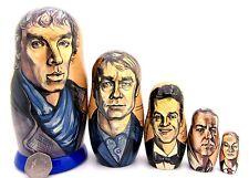 BBC SHERLOCK Russian 5 nesting dolls Holmes  Dr John Watson Moriarty Cumberbatch