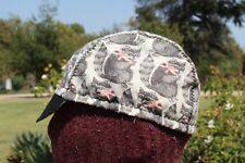 CYCLING CAP RACCOON 100%  COTTON HANDMADE IN USA ANY SIZE