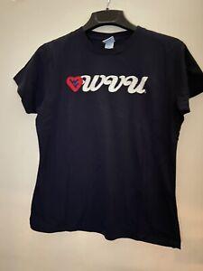 West Virginia Mountaineers NCAA Camp David  Ladies Navy Shirt Slim Fit Large