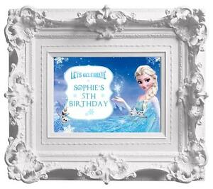 Personalised Disney Frozen Birthday Party Poster A4 Wall Sign Banner- Elsa/ Anna