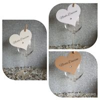 20-100 Handmade Personalised Heart Shape Wedding Place Name Cards/Table Setting